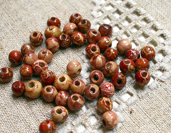 50pcs Wood Beads 8mm Painted Round Painted Pattern