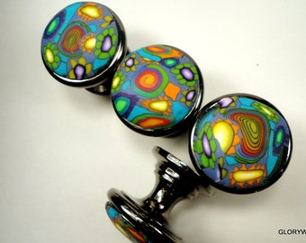 Cool Cabinet Knobs 6 polymer clay decorative knobs Black Nickel Base     Lime Orange Teal Yellow