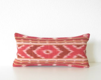 Mini lumbar pillow cover - 8x16 - Red - Burgundy - Ikat - Ikat Lumbar cover