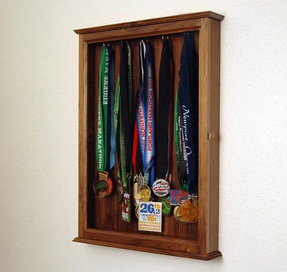 Walnut Sports Marathon Medal Display Case Cabinet-Large