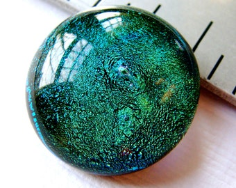 Dichroic Cabochon 17 mm Forest Green Fused Glass Handmade