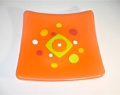 Neon Orange Glass Dish