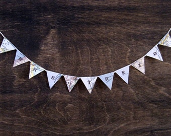 Mini Personalized Teacher Gift - Flag Bunting Pennant Banner from Vintage Maps