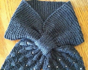 Keyhole Scarflette Knitting Pattern : Popular items for keyhole scarf on Etsy