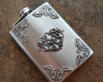 Flask, 8 Oz. Medieval Dragon Silver Flask , Gentleman's or Lady's Liquor Flask
