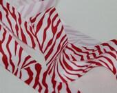 1.5 Inch Grosgrain Red and White Zebra 1 yard