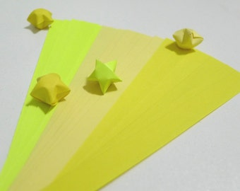 Summer Bliss - Sunshine Yellow Origami Lucky Star Paper Strips - pack of 90 strips