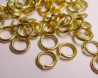 Jump rings - Gold - 100 pcs - 12 mm diameter - 1.7 mm tick - aluminum jump rings