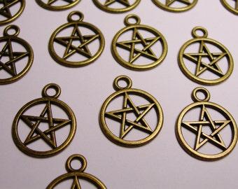 Pentacle Pentagram charms - 20 pcs - brass color -  Hypoallergenic - BAZ8