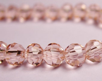 Crystal - round faceted 4mm beads - 98 beads - AA quality - light cherry pink - Full strand
