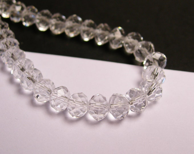 Crystal faceted rondelle -  98 pcs -  6 mm - AA quality - clear crystal  - full strand -CRV95
