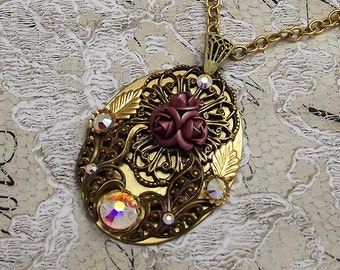 Pink Rose Victorian Filigree Necklace, Large Brass Oval