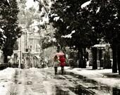 Red umbrella under the snow