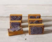 Six vintage rubber school stamps, Old French school stamps, Fruit images - FrenchFind