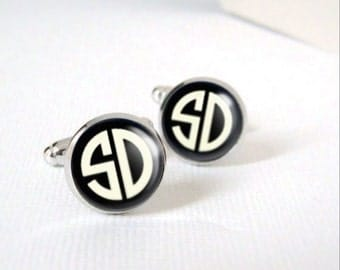Art Deco Monogram Cufflinks Best Man Custom Personalized Cuff links Your Choice of 2 Vintage Initials for Graduate Groom or Valentine