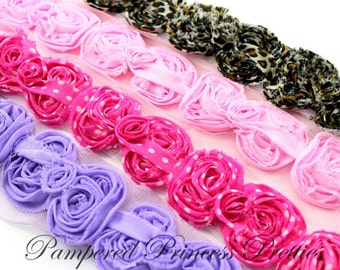 Set of 12-Shabby Bows- YOU CHOOSE COLORS (Check Stock Colors Below)-Mini 2.5inch