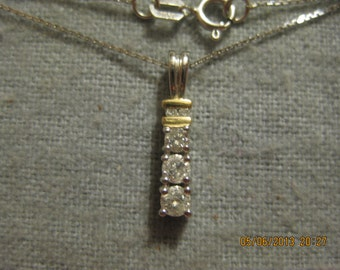 Past Present Future 10k White Gold Diamond Pendant Necklace