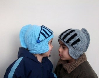 """Big brother & Little brother -Knight Hat with Movable and Detachable Face Mask-Gladiator-Two """"Knight"""" Hats"""