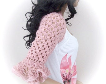 Pale Pink Frilly Shrug or scarf-New Item - Any Season-Bolero-hand crochet, variegated, super soft and stylish