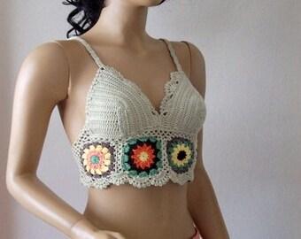 Summer crochet blouses-bustier-crochet summer apparel-unique tropical apparel-hippie beach -Lace blouse-hippy crochet top braids