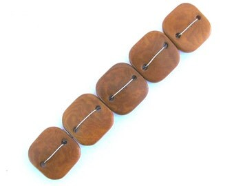 Five Amber Caramel Tagua Nut Beads, DD, Flat Square Beads, 22mm Beads, Natural Beads, Organic Beads, Vegetable Ivory Beads, EcoBeads