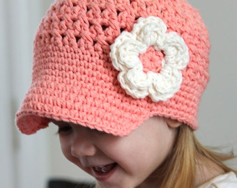 Crochet Newsgirl Hat for Baby, Crochet Baby Hat with Visor, tea rose color