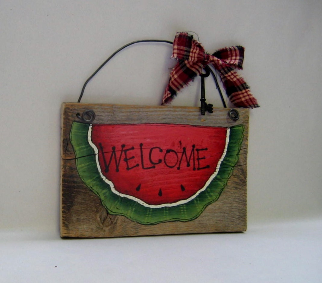 Watermelon Welcome Sign Barn Wood Tole Painted Rustic