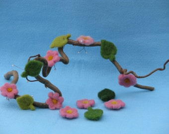 Needle felted flowers for decoration