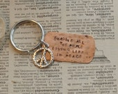 Hand Stamped Copper Dog Tag Keyring  With Sterling Artisan Peace Sign Charm And Lyrics From Imagine - By Inspired Jewelry Designs