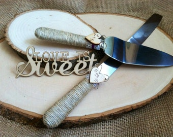 The Original, Wedding Cake Server Set, Personalized Rustic Wedding Cake Cutting and Serving Set. Rustic or Country theme Wedding