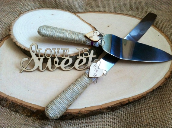 rustic wedding cake serving set the original wedding cake server set personalized rustic 7205