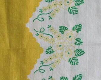 Vintage Yellow Floral Print Full Feedsack Fabric Cotton Bag