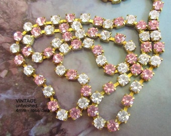 Swarovski Rhinestone Light Rose and Crystal 4mm Chain (1) foot