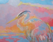 Colorful Abstract Original Heron Painting