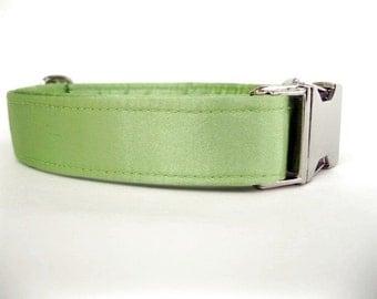 Satin Wedding Dog Collar - Lime