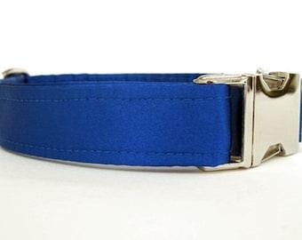 Satin Wedding Dog Collar - Royal Blue