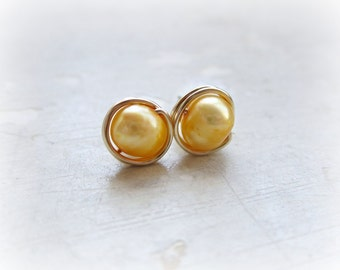 Golden Yellow Freshwater Pearl Studs, Gold Filled Studs, Wire Wrapped Posts, Mustard Yellow Posts, Hypoallergenic, Contempo Jewelry