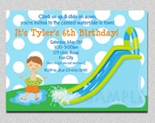 "Waterslide Birthday Invitations Water Slide Birthday Party Invitations Printable Boy or Girls ""THE ORIGINAL"""