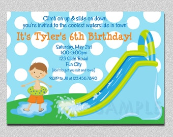 Waterslide Birthday Invitations,  Water Slide Birthday Party Invitations,  Printable Birthday Invitations, Kids Birthday Invitations