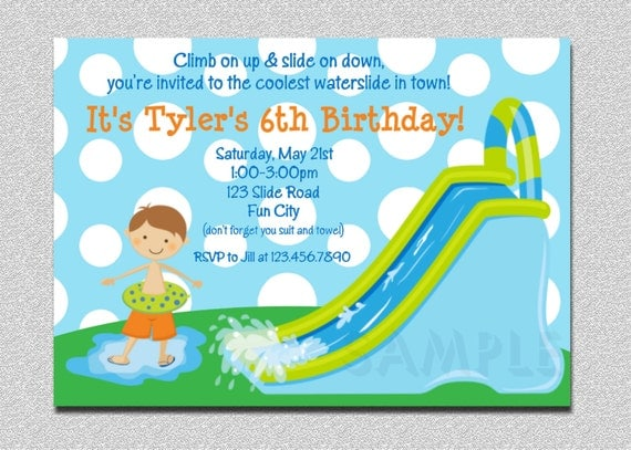 Waterslide Birthday Invitations Water Slide Birthday Party – Boy Party Invitations