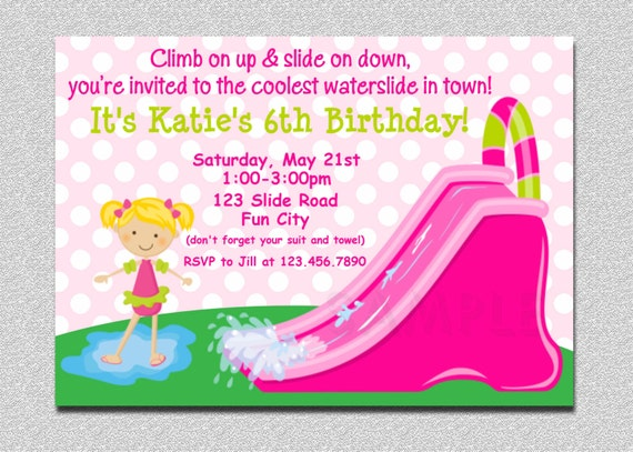 Waterslide Birthday Party Invitation Waterslide Birthday – Water Slide Party Invitations