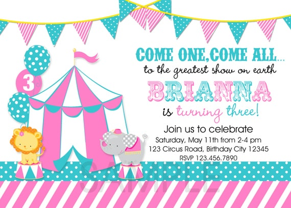carnival circus birthday invitation circus carnival birthday, Birthday invitations