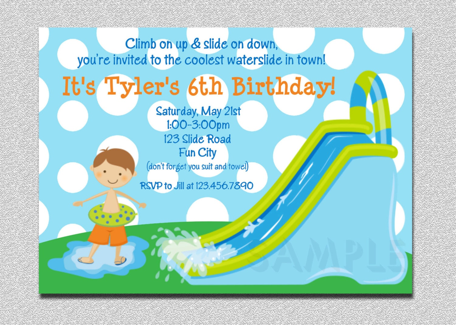 waterslide birthday invitations water slide birthday party, Party invitations