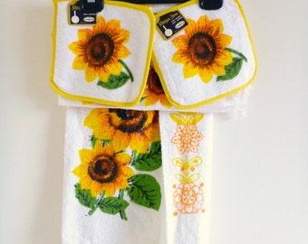 Attractive Vintage Sunflower Kitchen Set  Popular Items For Sunflower Kitchen On Etsy