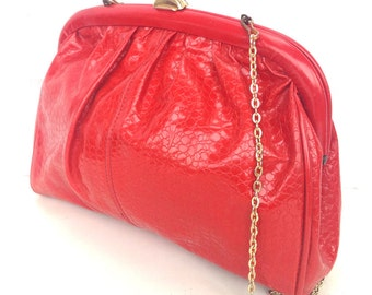 Jana, French Vintage, Strawberry Red Snakeskin, 1970s Handbag from Paris