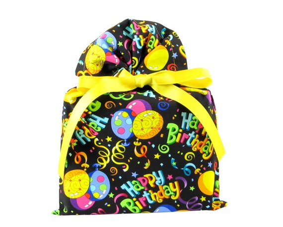 Birthday Balloons Fabric Gift Bag