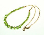 Peridot Faceted Baguette 14k Gold-Filled Necklace - N278