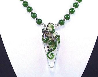 Borosilicate Glass Gecko & Green Jade OOAK Statement Necklace - N373