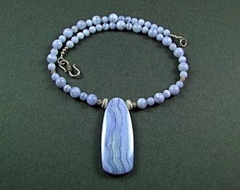 Gorgeous Blue Lace Agate Necklace - N211