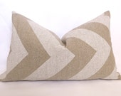 Chevron Linen Pillow - Natural - White - 12x20 inch - BOTH SIDES - Zig Zag - Decorative Pillow - Linen Pillow - Throw Pillow - WillaSkyeHome